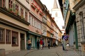 Travel photography:Houses lining the Krämerbrücke (shopkeeper`s bridge) in Erfurt, Germany