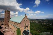 Travel photography:The Wartburg Castle viewed from the south tower with adjacent valley, Germany