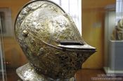 Travel photography:Knight`s Helmet on display inside the Wartburg Museum, Germany