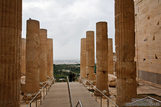 Columns at the entrance to the Athens Akropolis