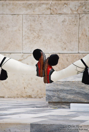Shoes of the guards at the Monument of the Unknown Soldier in Athens - Tsolias