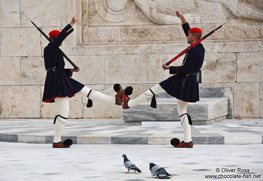 Guards at the Monument of the Unknown Soldier in Athens - Tsolias