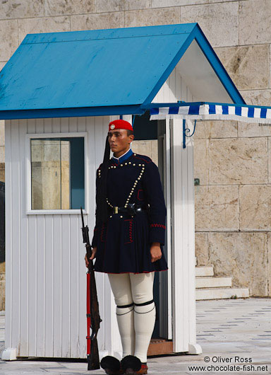 Guard at the Monument of the Unknown Soldier in Athens - Tsolias