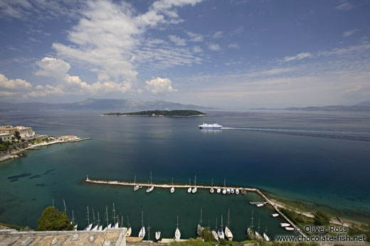 Aerial view of Corfu sailing harbour