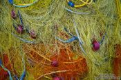 Travel photography:Fishing nets in Iraklio (Heraklion) harbour, Grece