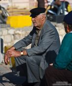 Travel photography:Man in Iraklio (Heraklion) harbour, Grece