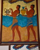 Travel photography:Palace of King Minos fresco `Procession` at Knossos, Grece