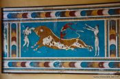Travel photography:Bull-leaping Fresco, Court of the Stone Spout in Knossos, Grece