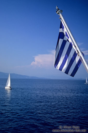 greece corfu and the northwest greek flag with sailing boat
