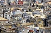 Travel photography:Houses in Corfu`s old town, Greece