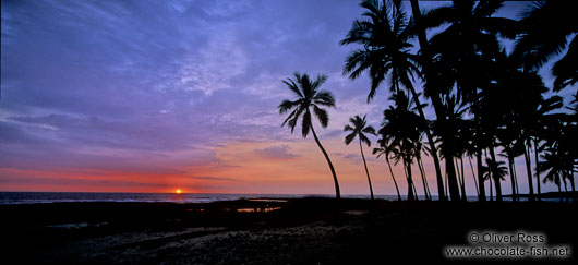 Panoramic view of a sunset at Pu`uhonua o Honaunau