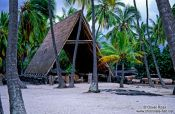 Travel photography:Hut in Pu`uhonua o Honaunau Ntl. Historical Park, Hawaii USA