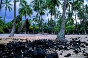 Travel photography:Pu`uhonua o Honaunau, Ntl. Historical Park tropics, Hawaii USA