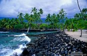 Travel photography:Beach at Pu`uhonua o Honaunau National Historical Park, Hawaii USA