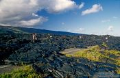 Travel photography:Road blocked by cooled lava in Volcano National Park, Hawaii USA