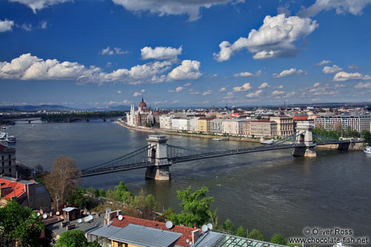Panoramic view of the Pest side with the Chain Bridge