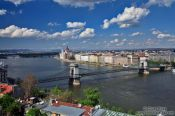 Travel photography:Panoramic view of the Pest side with the Chain Bridge, Hungary