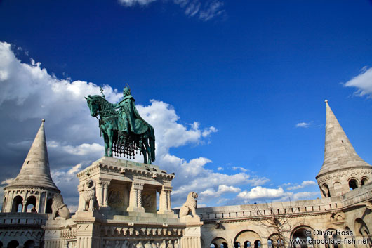 Statue of King Stefan I in the Fisherman´s Bastion at Budapest castle