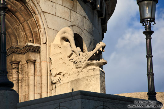 Dragon sculpture in the Fisherman´s Bastion at Budapest castle