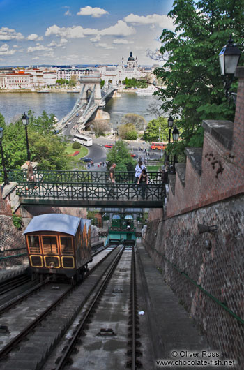 Cable car ascending from the Danube river to the Budapest castle