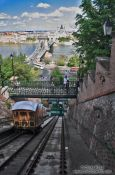 Travel photography:Cable car ascending from the Danube river to the Budapest castle, Hungary