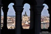 Travel photography:View of Pest from Fisherman´s Bastion in Budapest castle, Hungary