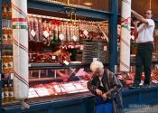 Travel photography:Hungarian sausages at the Budapest market, Hungary