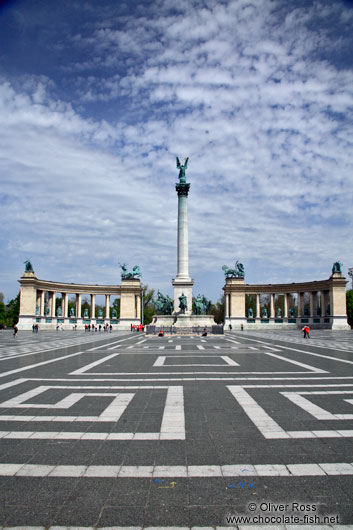 The Heros´ Square in Budapest with Millennium column