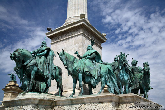 Riders at the base of the Millennium column on Budapest´s Heros´ Square