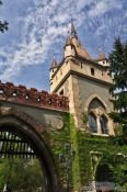 Travel photography:Tower and gate at Budapest Vajdahunyad castle, Hungary