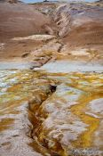 Travel photography:Small stream crossing the geothermal area at Hverarönd near Mývatn, Iceland