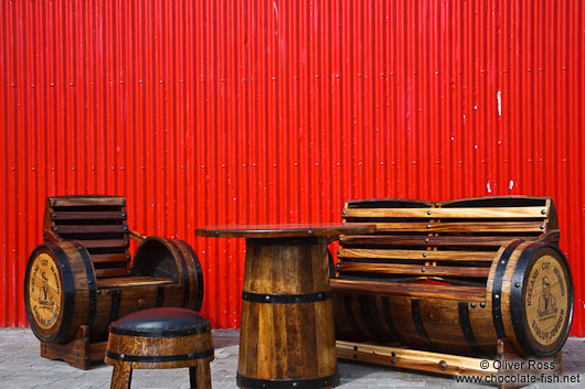 Table and chair ensemble from old herring barrels at a cafe in Siglufjörður