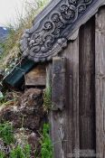 Travel photography:Facade detail of the Grafarkirkja peat church, Iceland