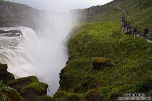Gullfoss waterfall on the Golden Circle tourist route