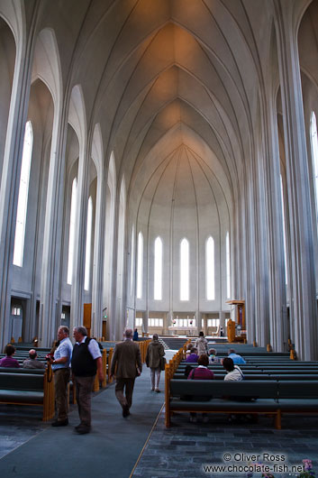 The interior of Reykjavik´s Hallgrimskirkja church