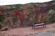 Travel photography:Bench at a crater on the Golden Circle tourist route, Iceland