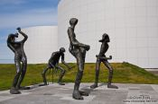 Travel photography:Sculpture of a music band outside the Reykjavik Perlan, Iceland