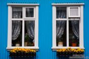Travel photography:Blue facade in Reykjavik, Iceland