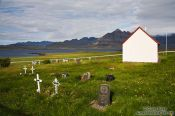 Travel photography:Private cemetery at Berunes, Iceland