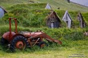 Travel photography:Abandoned tractor and houses at Nupsstadur, Iceland