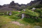 Travel photography:Traditional peat houses at Nupsstadur, Iceland