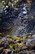 Travel photography:Fan shaped lava formations at the Arnarstastapi cliffs, Iceland