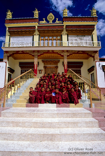 Buddhist monk novices outside their Chosling school