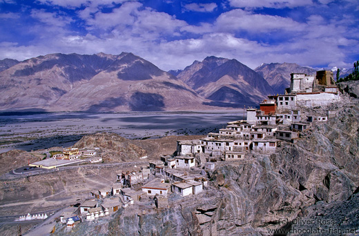 Diskit Gompa (buddhist monastery) with Chosling School in the background
