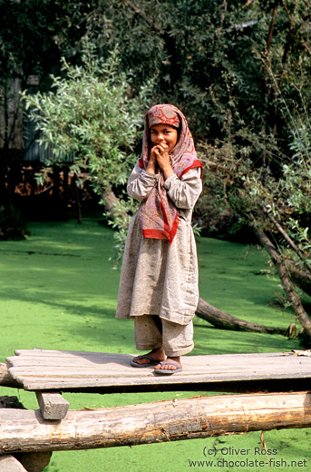 Girl on Dal Lake near Srinagar (Kashmir)