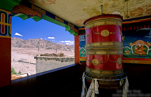 Big prayer wheel at the Thiksey Gompa