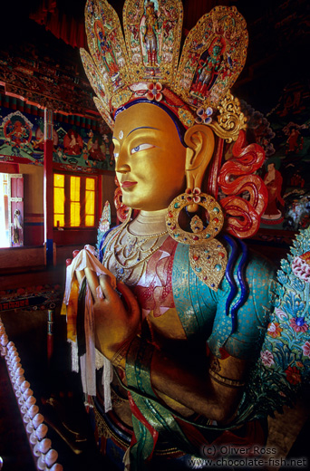 Statue inside the Thiksey Gompa