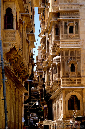 Street with old Havelis (merchant houses) in Jaisalmer