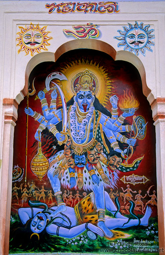 Painting of the goddess Kali dancing on Shiva´s corpse, Pushkar