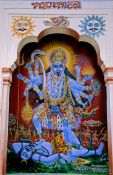 Travel photography:Painting of the goddess Kali dancing on Shiva´s corpse, Pushkar, India